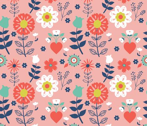 Folk Floral = Pinks fabric by onelittleprintshop on Spoonflower - custom fabric