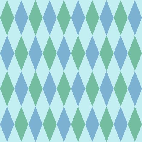 harlequin diamonds in soft aqua on mint fabric by weavingmajor on Spoonflower - custom fabric