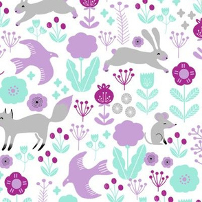 spring // purples  flowers, rabbit fox birds woodland nursery lilac purple pastel cute little girls baby girl nursery print
