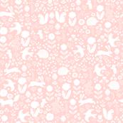 woodland spring // nursery baby pink pastel baby girl cute animals rabbit bird flowers florals