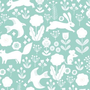 spring // woodland squirrel rabbit flowers florals cute pastel nursery mint baby