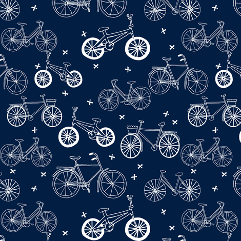 bicycles // hand drawn navy blue kids bikes bicycles fun bike hand-drawn illustration bicycle print fabric by andrea_lauren on Spoonflower - custom fabric
