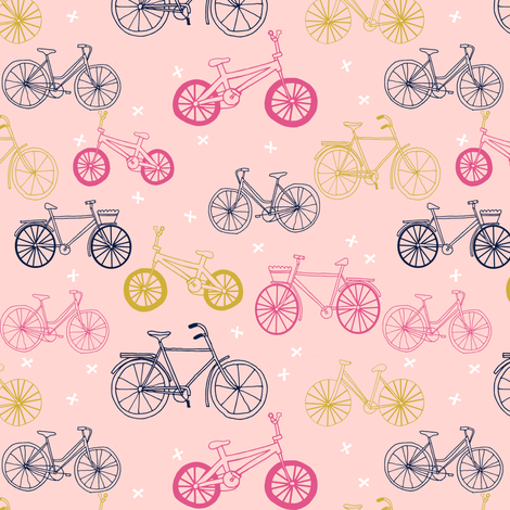 bicycles // pink mustard navy cute girls summer bicycle bikes pink pastel design fabric by andrea_lauren on Spoonflower - custom fabric