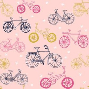 bicycles // pink mustard navy cute girls summer bicycle bikes pink pastel design
