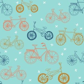 bicycles // mint navy yellow hand drawn bike cute summer kids design