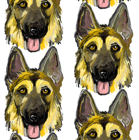 German Shepherd Dogs Portraits on White fabric by eclectic_house on Spoonflower - custom fabric