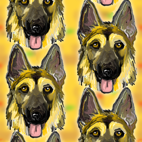 German Shepherd Dog Portraits on Gold fabric by eclectic_house on Spoonflower - custom fabric