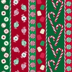 Christmas Candy Stripes Green Red White