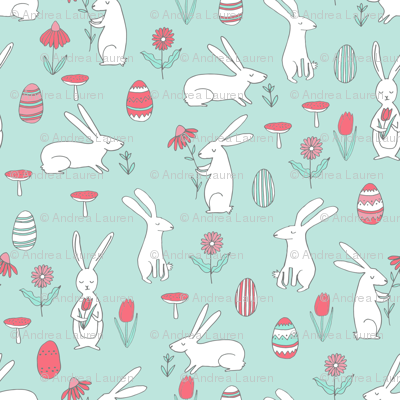 easter bunny // pastel mint nursery spring