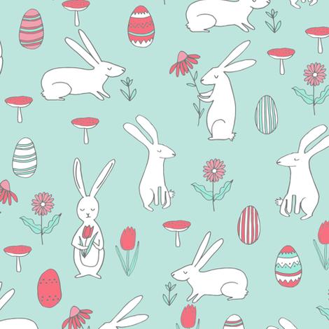 easter bunny // pastel mint nursery spring  fabric by andrea_lauren on Spoonflower - custom fabric