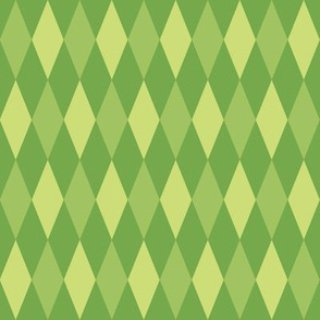 harlequin diamonds - green leaves
