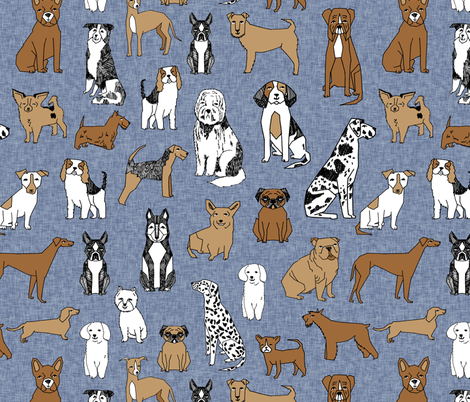 happy dogs // stonewash blue linen look fabric boston terrier sheepdog english bulldog dalmatian dogs fabric by andrea_lauren on Spoonflower - custom fabric