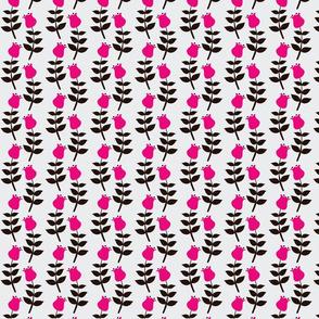 Retro Pink & Black Tulips on Grey