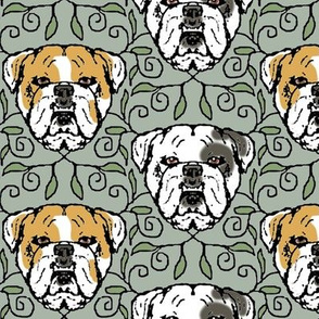 English Bulldog Portraits with Vines