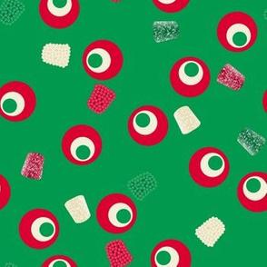 Christmas Gumdrops Green Red Cream