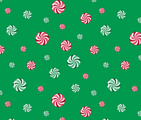 Christmas Peppermint and Wintergreen Candies Green Red White fabric by wickedrefined on Spoonflower - custom fabric