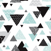 Geometric triangle aztec illustration hand drawn pattern mint blue