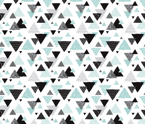 Geometric triangle aztec illustration hand drawn pattern mint blue fabric by littlesmilemakers on Spoonflower - custom fabric