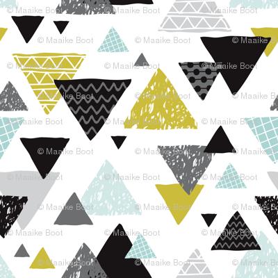 Geometric triangle aztec illustration hand drawn pattern mint and mustard