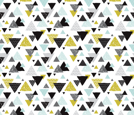 Geometric triangle aztec illustration hand drawn pattern mint and mustard fabric by littlesmilemakers on Spoonflower - custom fabric