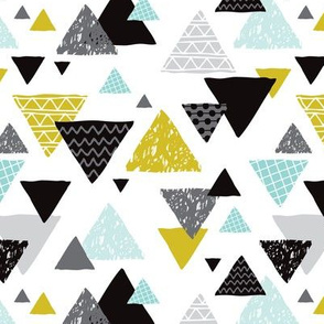 Geometric triangle aztec illustration hand drawn pattern mint and mustard