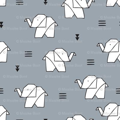 Cute origami japanese jungle animals elephant paper art illustration for kids geometric style design ice blue gray
