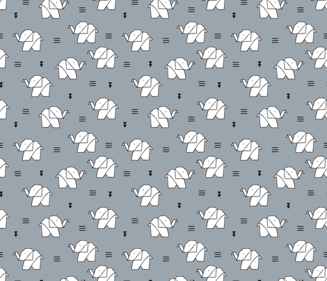 Cute origami japanese jungle animals elephant paper art illustration for kids geometric style design ice blue gray fabric by littlesmilemakers on Spoonflower - custom fabric