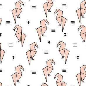 Cute origami japanese parrot bird paper art illustration for kids geometric style design pale blush pink