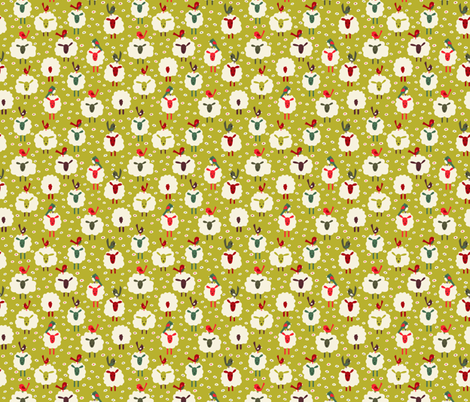 Sheep and birds fabric by laura_mooney on Spoonflower - custom fabric