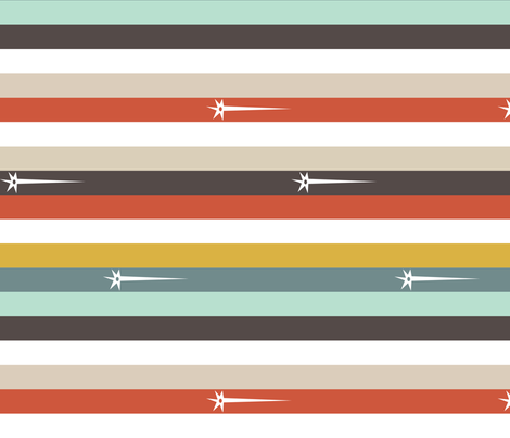 Stripes | Red Gold Aqua Brown fabric by handmadephd on Spoonflower - custom fabric