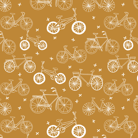 bicycles // mustard olive toasted almond bicycles eco friendly fun summer bike fabric fabric by andrea_lauren on Spoonflower - custom fabric
