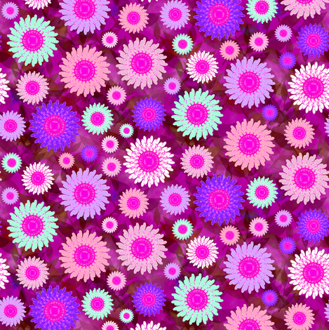Zillion Zinnias, Purple fabric by eclectic_house on Spoonflower - custom fabric