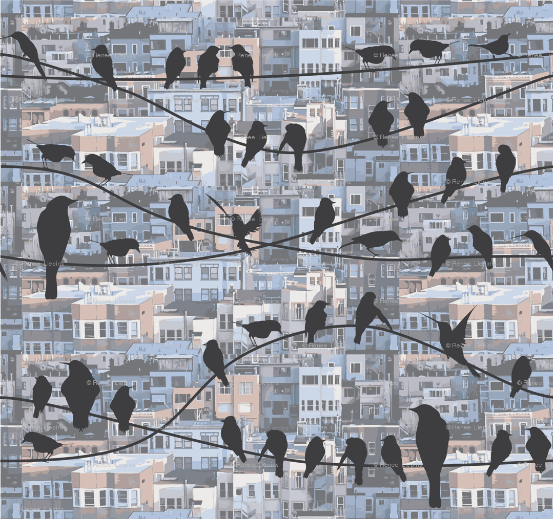 Birds on Wire fabric - renelope - Spoonflower