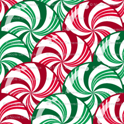 Christmas Peppermint and Wintergreen Candy Striped Scales Red Green White