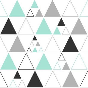 Triangles - Large Stacked in Mint Gray Charcoal