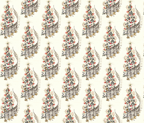 Retro Christmas Staircase fabric by hollywood_royalty on Spoonflower - custom fabric
