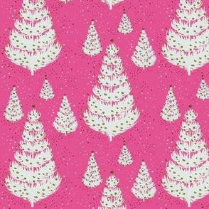 Retro White Christmas Trees