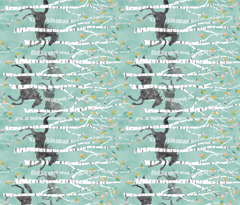 all the pretty little horses teal turned fabric by vo_aka_virginiao on Spoonflower - custom fabric