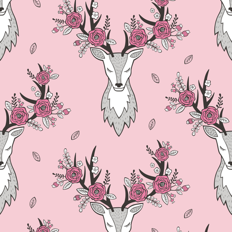 Deer Head in Pink fabric by caja_design on Spoonflower - custom fabric