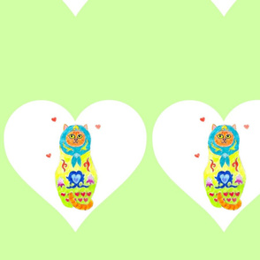 Kitty Matryoshka Green Hearts