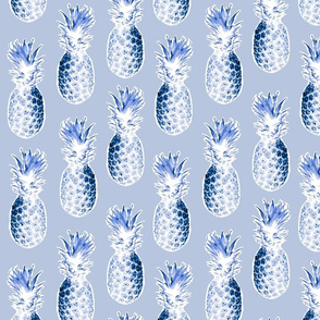 Pineapples in Blue Tones