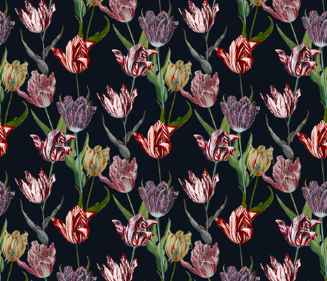 tulip mania on a black ground fabric by nlsd on Spoonflower - custom fabric