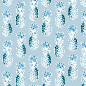 Pineapples in Light Blue/Gray Tones