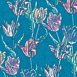 Watercolor tulips on a blue-gray ground