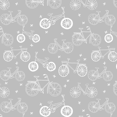 bicycles // grey and white bike bicycles monochrome minimal grey kids nursery baby print fabric by andrea_lauren on Spoonflower - custom fabric