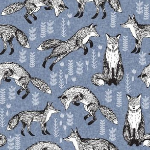 fox // woodland fox linen blue cute forest