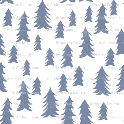 tree // woodland forest trees simple blue nursery tree print