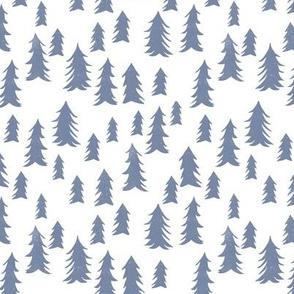 tree // woodland forest trees simple blue nursery tree print