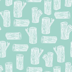 tree log // mint tree woodland lumberjack forest tree nursery mint print