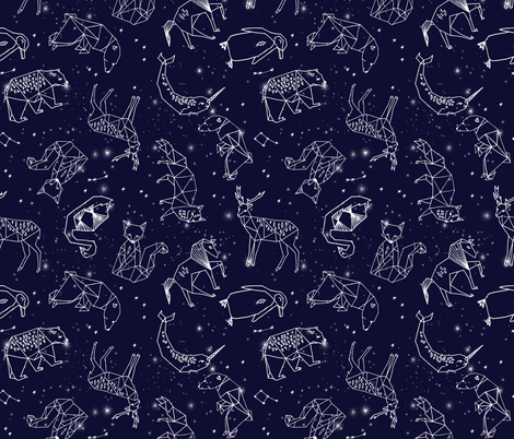 constellations // origami geometric animal astronomy stars night sky navy blue kids nursery baby print fabric by andrea_lauren on Spoonflower - custom fabric